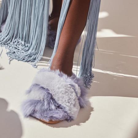 Ariana Bohling Sophie Alpaca Slippers - Lilac/Grey
