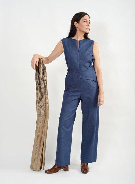 Meg Side Button Jumpsuit - Blue