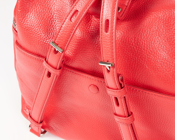 KARA Poppy Pebbled Leather Backpack