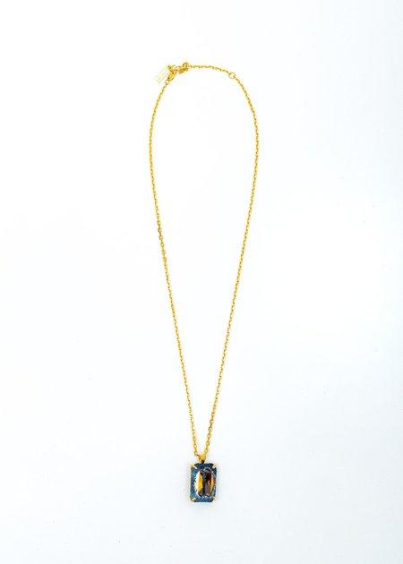 SWEETLIMEJUICE Denim Octagonal Necklace - Gold/Blue Denim/Yellow Stone
