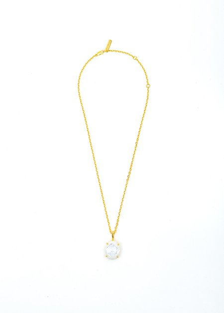 SWEETLIMEJUICE Denim Oval Necklace - Gold /White Denim/Clear Stone