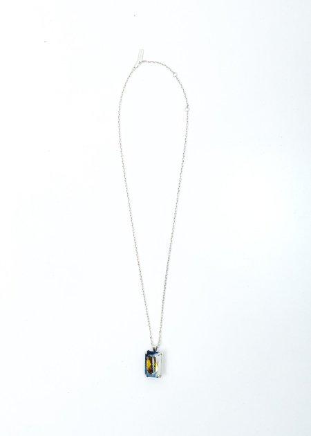 SWEETLIMEJUICE Denim Octagonal Necklace - Silver /Blue Denim/Yellow Stone