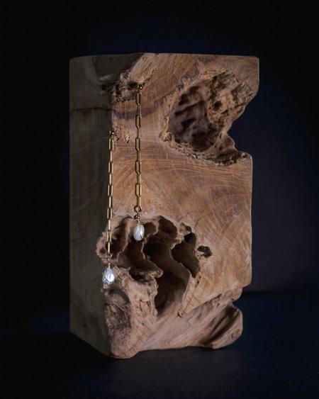 Cyntia Miglio Long Link Earrings - Baroque Pearl