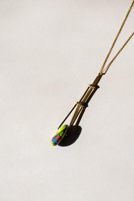 Jenevier Blaine Brass Stone Necklace - Gold Plated