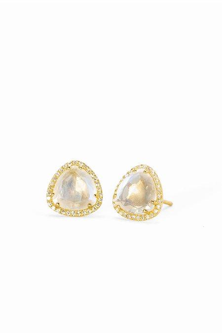 Pade Vavra Rainbow Moon Stone Diamond Studs - 14K Yellow Gold