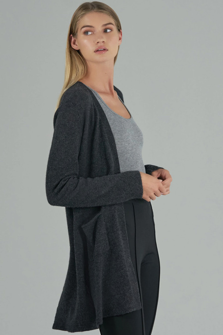 ATM Cashmere Cardigan - Charcoal Donegal