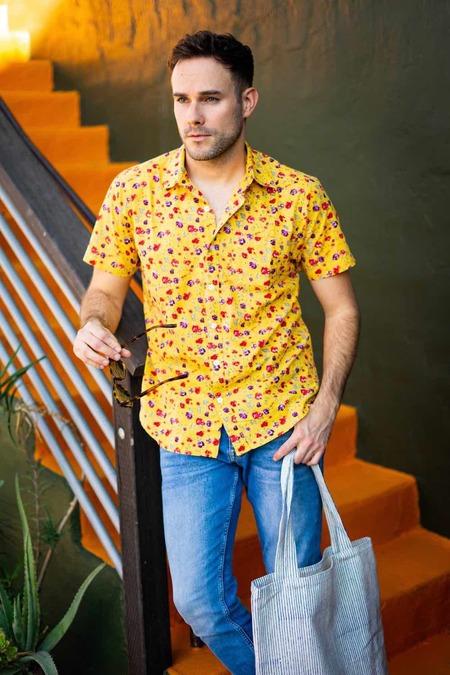 Dushyant Asthana Hand-Printed The Folk Short Sleeve Shirt - Yellow Floral Print