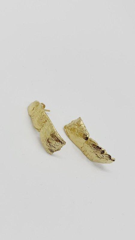 Pamela Card Fractured Script Earrings - Gold