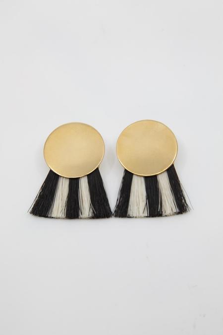 Anna Monet Iris Stripe Earring - Black / White