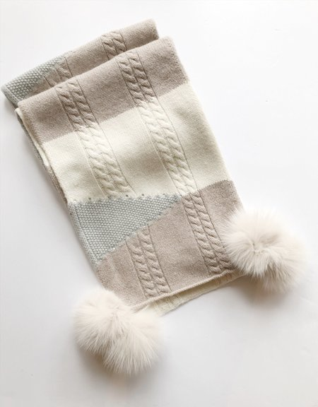 Mitchie's matching Knit Wool Color Blocking Scarf - Taupe