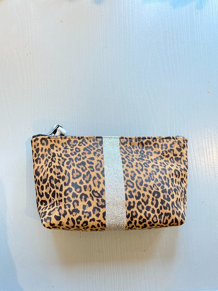 Totem Leather Pouch with silver glitter stripe - leopard