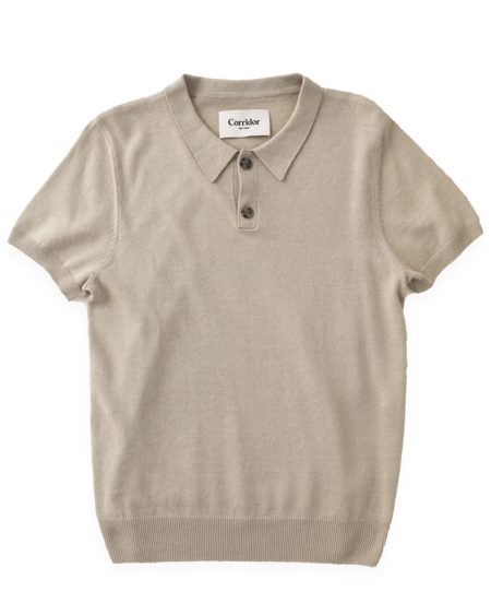 Corridor Linen Knit Polo - NATURAL