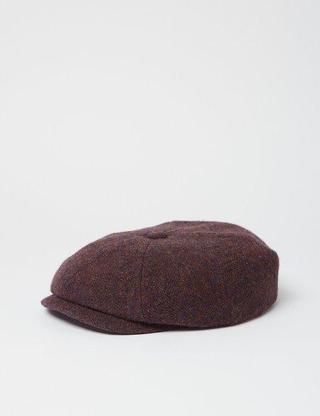 Stetson Hatteras Wool Herringbone Flat Cap - Blue/Red/Brown