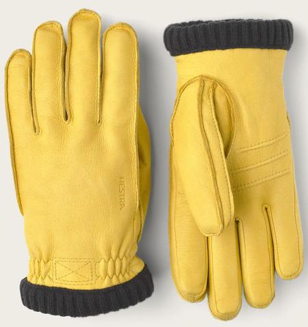 Unisex Hestra Deerskin Primaloft Ribbed Gloves - Natural Yellow