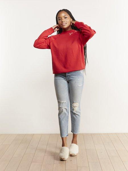 I Stole My Boyfriend's Shirt Silver Lake Sweatshirt - Red
