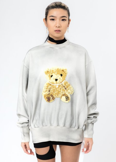 we11done Embroidered Teddy Sweater - Ivory