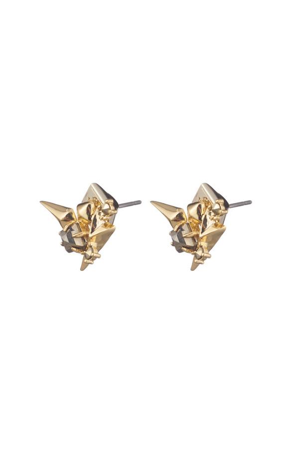 Alexis Bittar Golden Studded Post Earrings