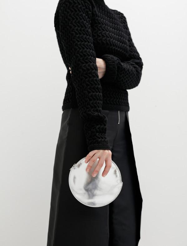 Kara Womens Circle Clutch Mirrored Silver