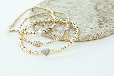 Karen Lazar 4mm YG Bracelet with Sterling Silver Oxidized Heart Bead