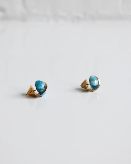 [Pre-loved] Sarah Magid Dome Stud Earrings - Gold/Blue