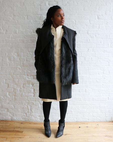 [pre-loved] Vera Wang Fur Coat - Charcoal