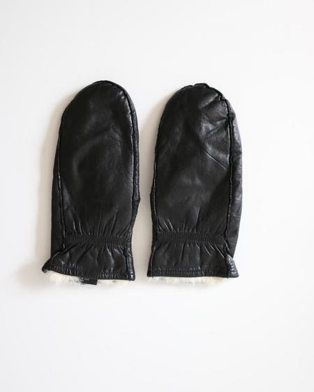 PRE-LOVED Leather & Fur Mittens - Black