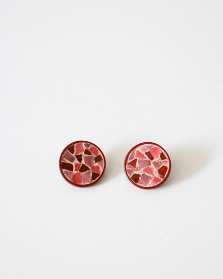 PRE-LOVED Rosie Assoulin Mosaic Clip-On Earrings - Red