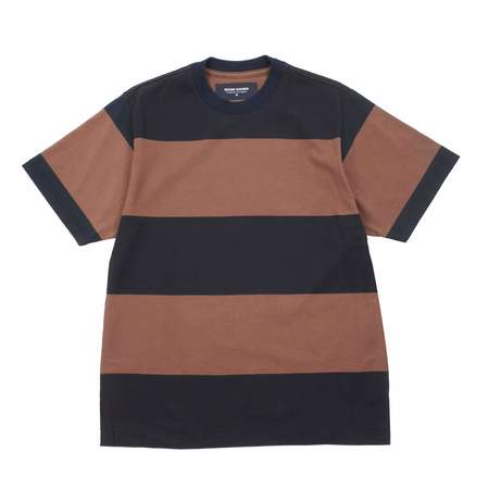 Noon Goons BIG STRIPE T-SHIRT - NAVY/BROWN