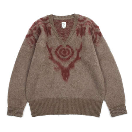 South2 West8 LOOSE FIT AZTEC V NECK SWEATER - TAN