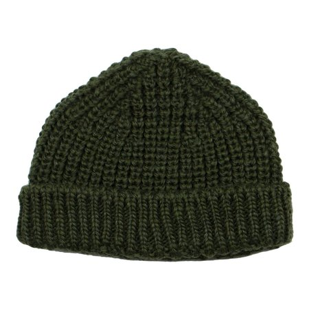 cableami British Wool Short Beanie - Olive