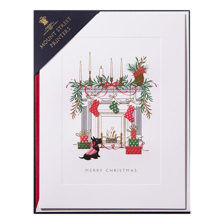 Mount Street Printers Fireside with Scotty Christmas Card Set of 8
