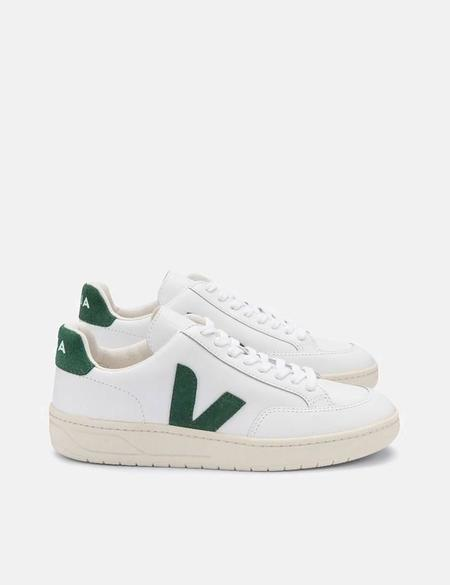 Veja V-12 Leather Trainers - Extra White/Cypress