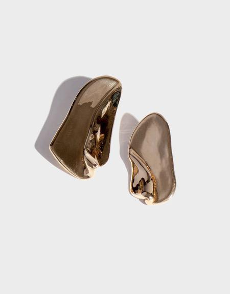 Modern Weaving Overlay Earrings - brass