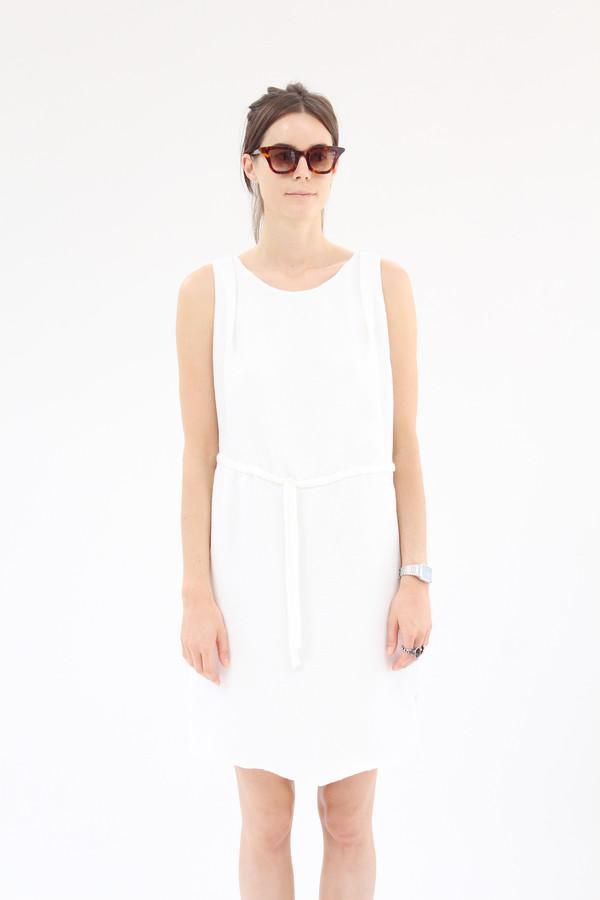 Beklina Hoda Tie Dress Textured Silk White