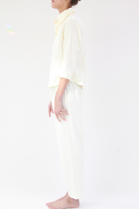 Beklina Organic Cotton Flannel Pajama Set Ivory