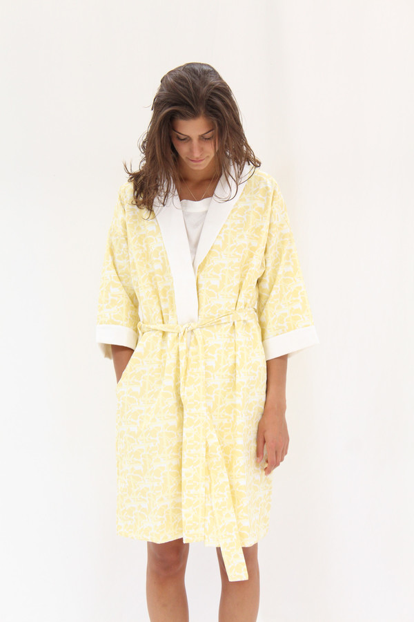 Lina Rennell Organic Cotton Robe Collage Print