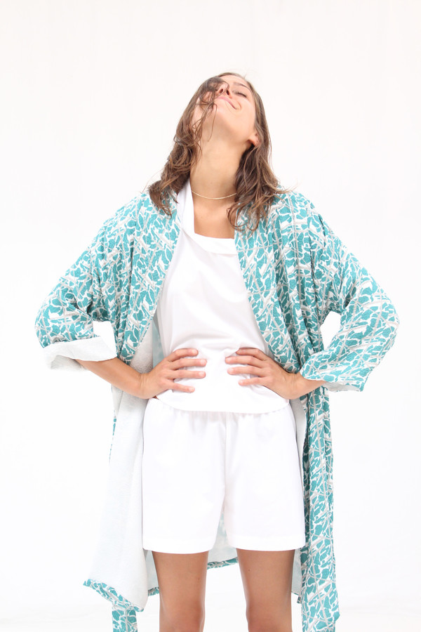 Beklina Silk Robe Collage Print