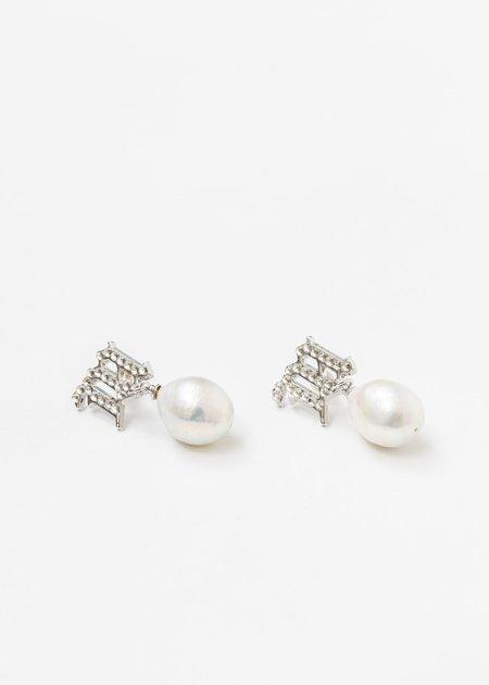 MISBHV Crystal Monogram Baroque Pearl White Earring