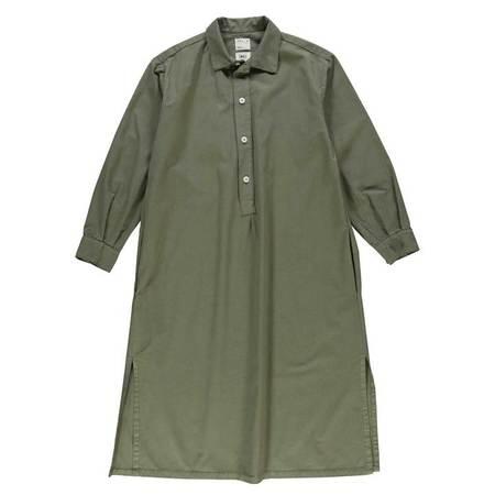 Girls Of Dust Chemise light cotton drill dress - MOSS GREEN