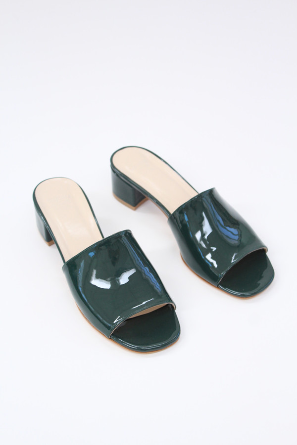 Maryam Nassir Zadeh MNZ Sophie Slide Bottle Green Patent
