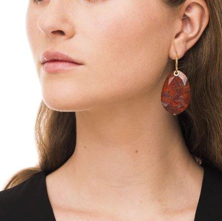 Wouters & Hendrix Simple Drops Hoop Earrings - 14k gold plating/silver/Onyx