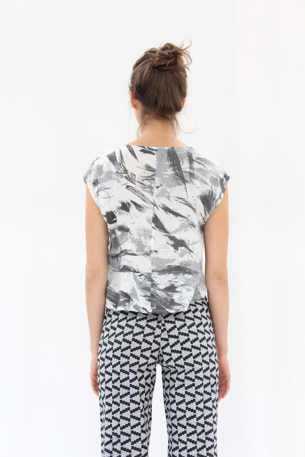 Osei Duro Maena Shell Top Black White Abstract