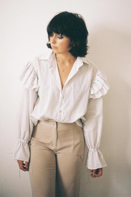 Annie Hamilton Ruffle Shirt - Pinstripe