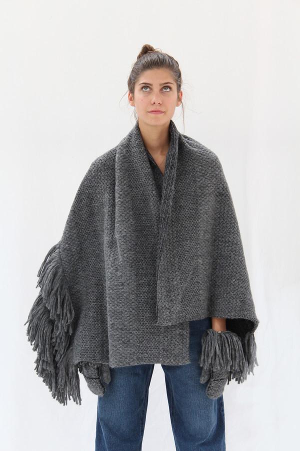 Rachel Comey Fringe Scarf / Wrap In Blue Or Grey