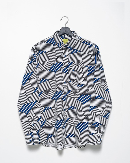 Poplin & Co. Casual Button Down Long Sleeve Shirt - Geo Grid