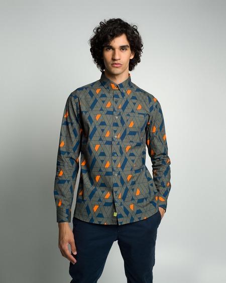 Poplin & Co. Casual Button Down Long Sleeve Shirt - Digi Block