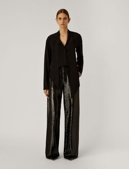 Sequin Tawny Trousers - Black