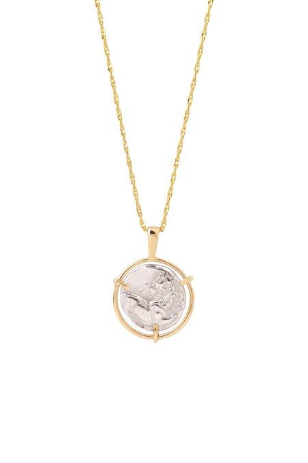 Eikosi Dyo Lion Medal Coin Necklace - 14K Yellow Gold/Silver