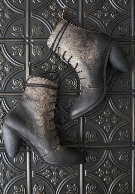 Nutsa Modebadze Dainty Heel Lace Up Leather Bootie - Splatter