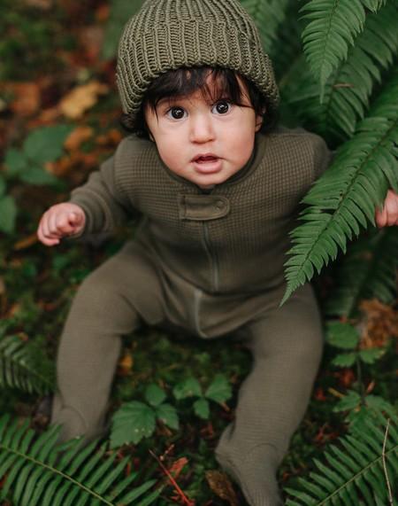 KIDS Noble Carriage Newborn Pom Beanie - Olive